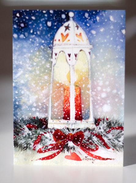 Joulukortti: Lyhty ja kranssi (2-osainen)