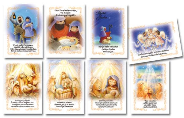 Joulukortteja, 8 kpl lajitelma (On lapsi syntynyt meille)