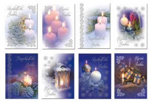 Joulukortteja, 8 kpl lajitelma (Joulun valoa)