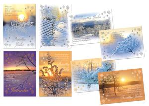 Joulukortteja, 8 kpl lajitelma (maisema-aihe, hengellinen)