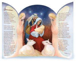 Joulukortti Pyhä perhe ja enkelit (2017)