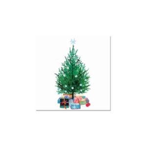 Postikortti: Kuusi ja lahjat (kuorellinen)