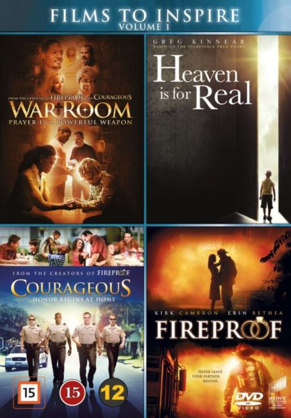 4-DVD boxi: War Room, Heaven is for real, Courageous, Fireproof DVD
