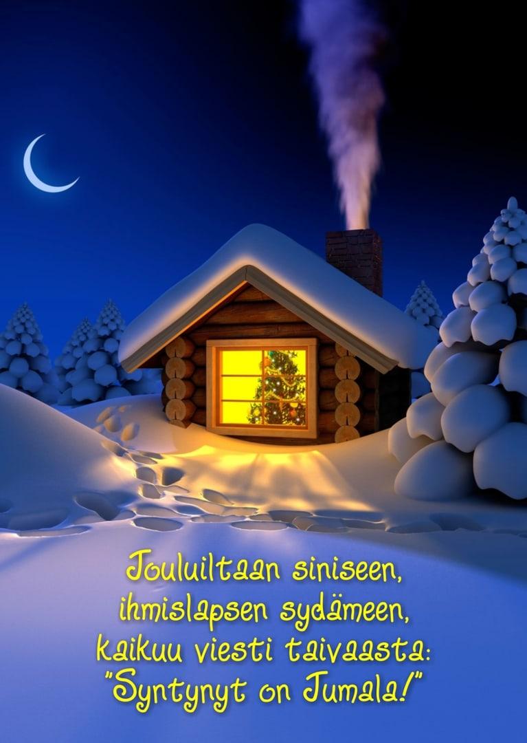 joulukortti Joulukortti (Jouluiltaan siniseen) – kristillinenkirjakauppa.fi joulukortti