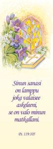 Kirjanmerkki: Kukat ja Raamattu