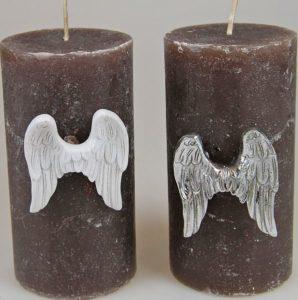 Enkelinsiipikoriste kynttilään (hopeankiiltävä)