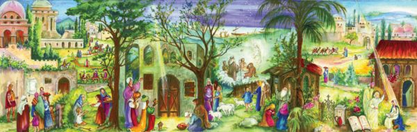 Adventtikalenteri Joulun tapahtumia, taitettava
