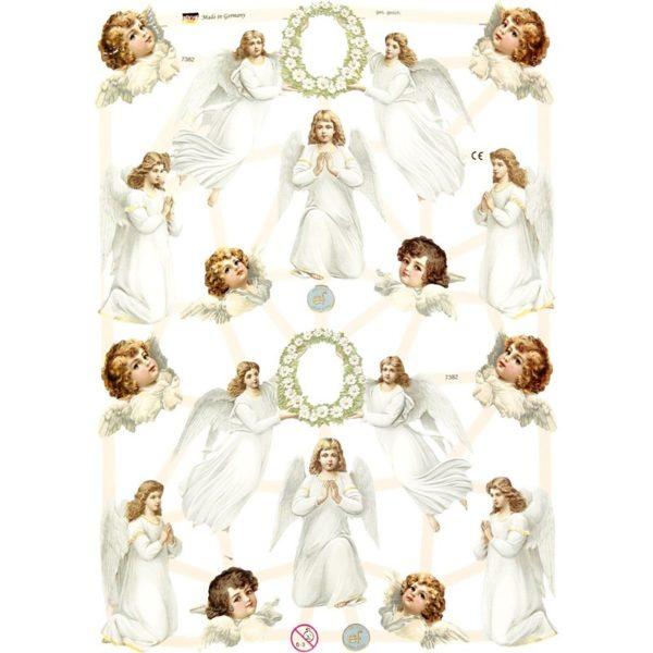 Kiiltokuvat, valkoiset enkelit, 3 arkkia