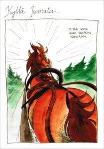 Kyllä Jumala... pitää ohjia käsissään -postikortti