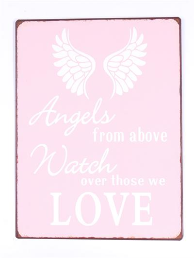 "Metallinen sisustuskyltti ""Angels from above, watch over those we love"""