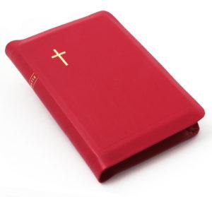 Raamattu 1933/1938, Käsin sidottu, nahkakantinen, suojareuna, fuksia, reunahakemisto, sivukoko 125 x 180 mm
