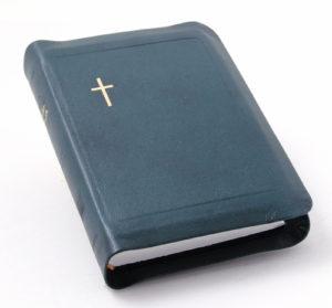 Nahkakantinen taskuvirsikirja (suojareuna, sinivihreä)