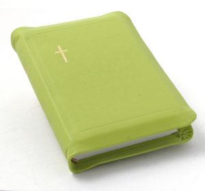 Nahkakantinen taskuvirsikirja (suojareuna, limenvihreä)