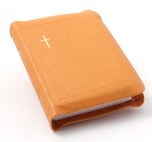 Nahkakantinen taskuvirsikirja (suojareuna, oranssinkeltainen)
