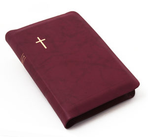 Keskikokoinen nahkakantinen Raamattu, viininpun. (reunahakemisto, kultasyrjä)