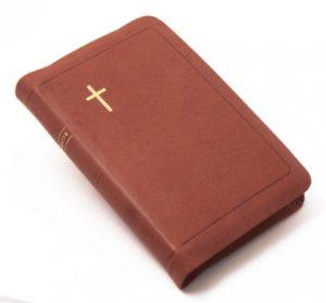 Keskikokoinen Raamattu, vetoketju, nahkakansi, reunahakemisto, ruskea, jakeittainen tekstiasu, sivukoko 122 x 180 mm