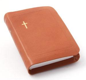 Nahkakantinen taskuvirsikirja (suojareuna, ruskea)
