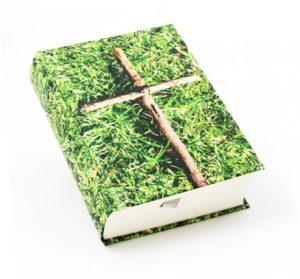 Risti ruohikossa rippiraamattu
