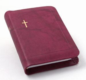 Nahkakantinen taskuvirsikirja (suojareuna, viininpunainen)