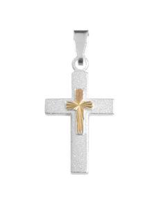 Hopeinen rippiristi ketjulla (kultapala) 507900