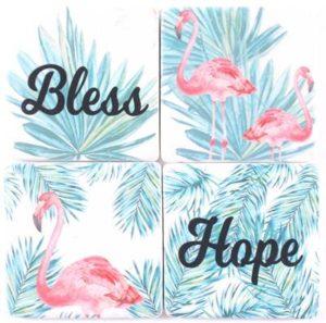 "Kiviset lasinaluset ""Bless and Hope"" 4 kpl"