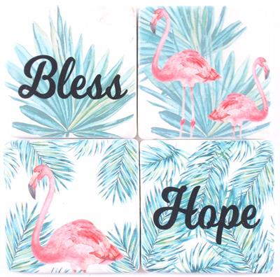 "Kiviset lasinaluset ""Bless and Hope"" 4 kpl"