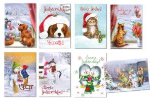 Joulukortteja, 8 kpl lajitelma (lasten joulukortit)