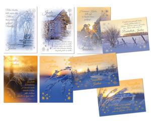 Joulukortteja, 8 kpl lajitelma (Maisema, valon juhla)