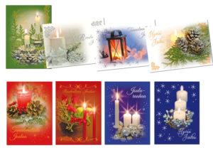 Joulukortteja, 8 kpl lajitelma (Kynttilä, joulun valoa)