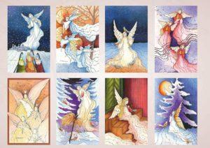Joulukorttisarja: Anne Karlssonin enkelisarja (8 kpl lajitelma)