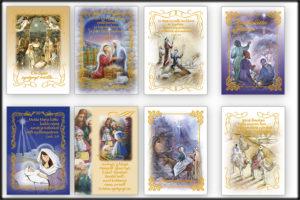 Joulukorttisarja: Raamattuaihe, jouluevankeliumi (8 kpl lajitelma)