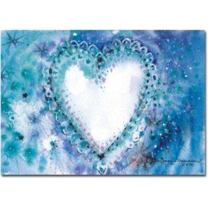 Joulukortti: Sininen sydän