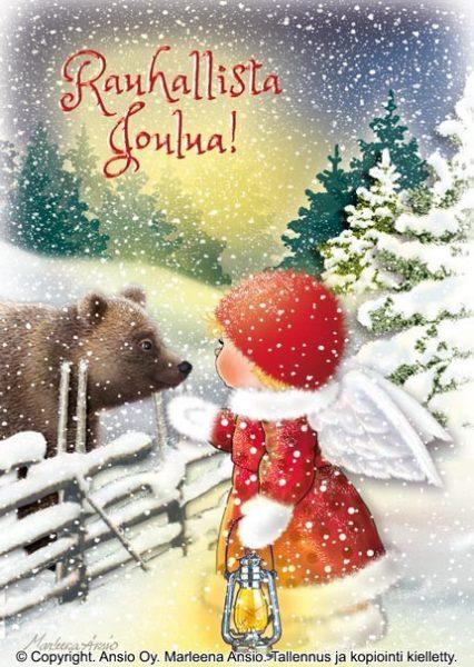 Joulukortti: Enkeli ja karhu
