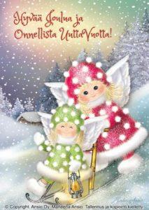 Joulukortti: Enkelit ja kelkka