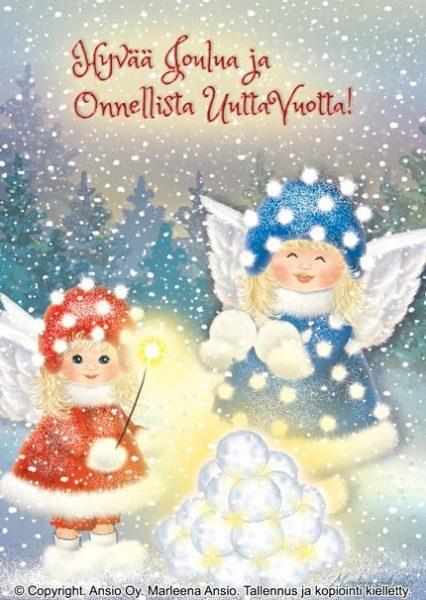 Joulukortti: Enkelit ja lumilyhty