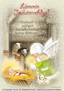 Joulukortti: Enkeli ja seimi