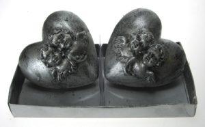 Hopeasydämet-kynttilät 2 kpl