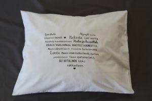Tyynyliina, Rohkaisevat sanat (musta teksti)