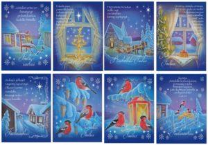 Joulukortteja, 8 kpl lajitelma (Valon Juhla)