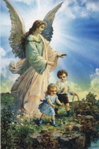 Postikortti, Perinteinen suojelusenkeli ja lapset jyrkänteellä.
