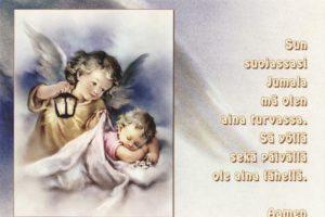 Postikortti, Enkeli peittelee lasta tekstillä
