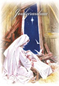 2-osainen jouluevankeliumikortti (Jeesus ja Maria)