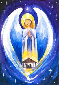 2-osainen jouluevankeliumikortti (Enkeli)