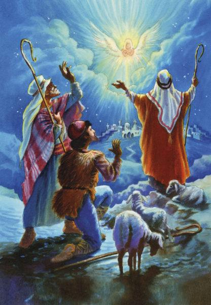 2-osainen jouluevankeliumikortti (Paimenet ja enkeli)