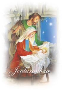 2-osainen jouluevankeliumikortti (Jeesus, Maria ja Joosef)