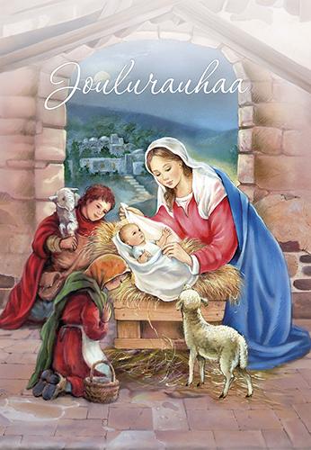 2-osainen jouluevankeliumikortti (Maria ja lapset)