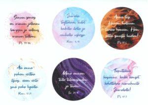 Pyöreät Raamatunlausetarrat, 6 erilaista