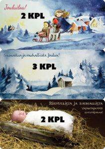 Viehättävät isokoiset joulukortit (7 kpl paketti)