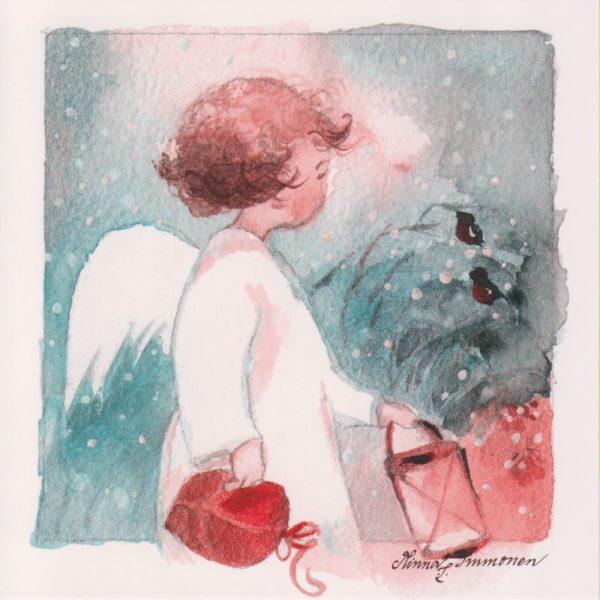Joulukortti: Enkeli ja linnut (neliö)