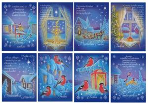 Joulukortteja, 8 kpl lajitelma (Sininen hetki)